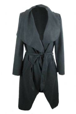 Faux Wool Melton Wrap Jacket